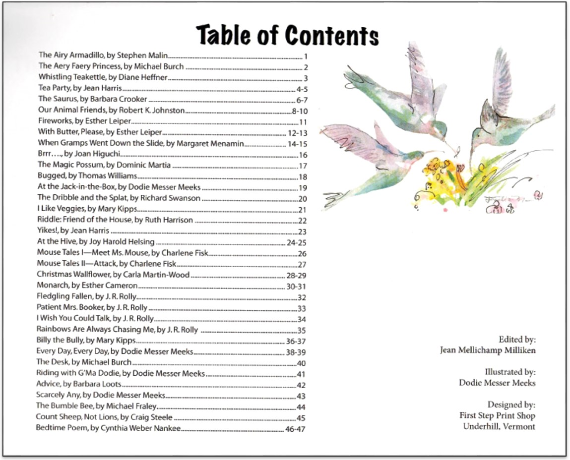 A bouquet of poems the lyric magazine for 101 great american poems table of contents